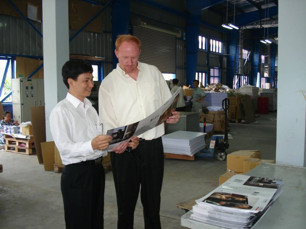 Visiting printing factory in Saigon, Vietnam
