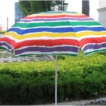 Striped steel beach umbrella with sides