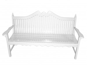 White wood bench