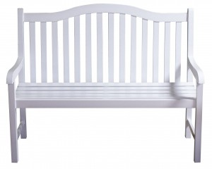 Old fashioned white wood bench