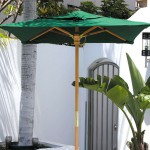 6.5' square wood market umbrella green