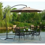 Offset umbrella with dining set