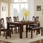 Meadows rectangle with 4 chairs and padded bench set